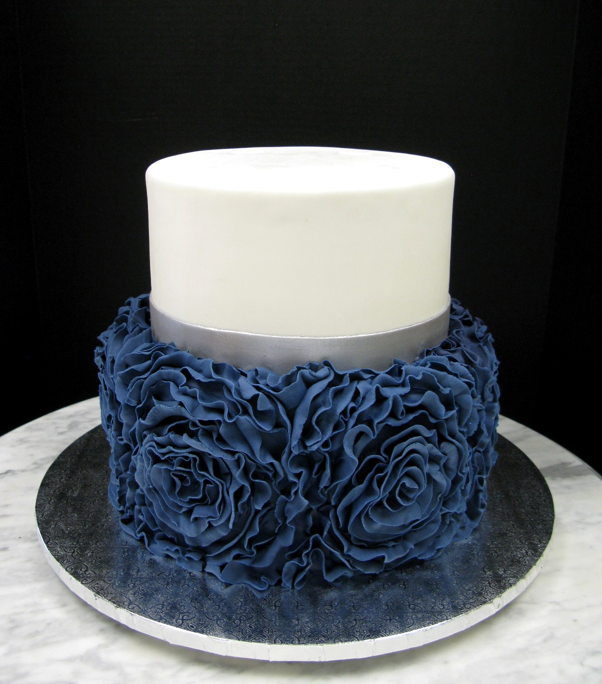 Navy Blue Ruffle Rose