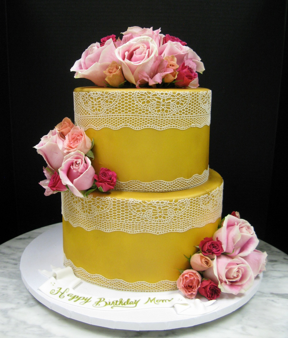 Golden Cake with White Lace