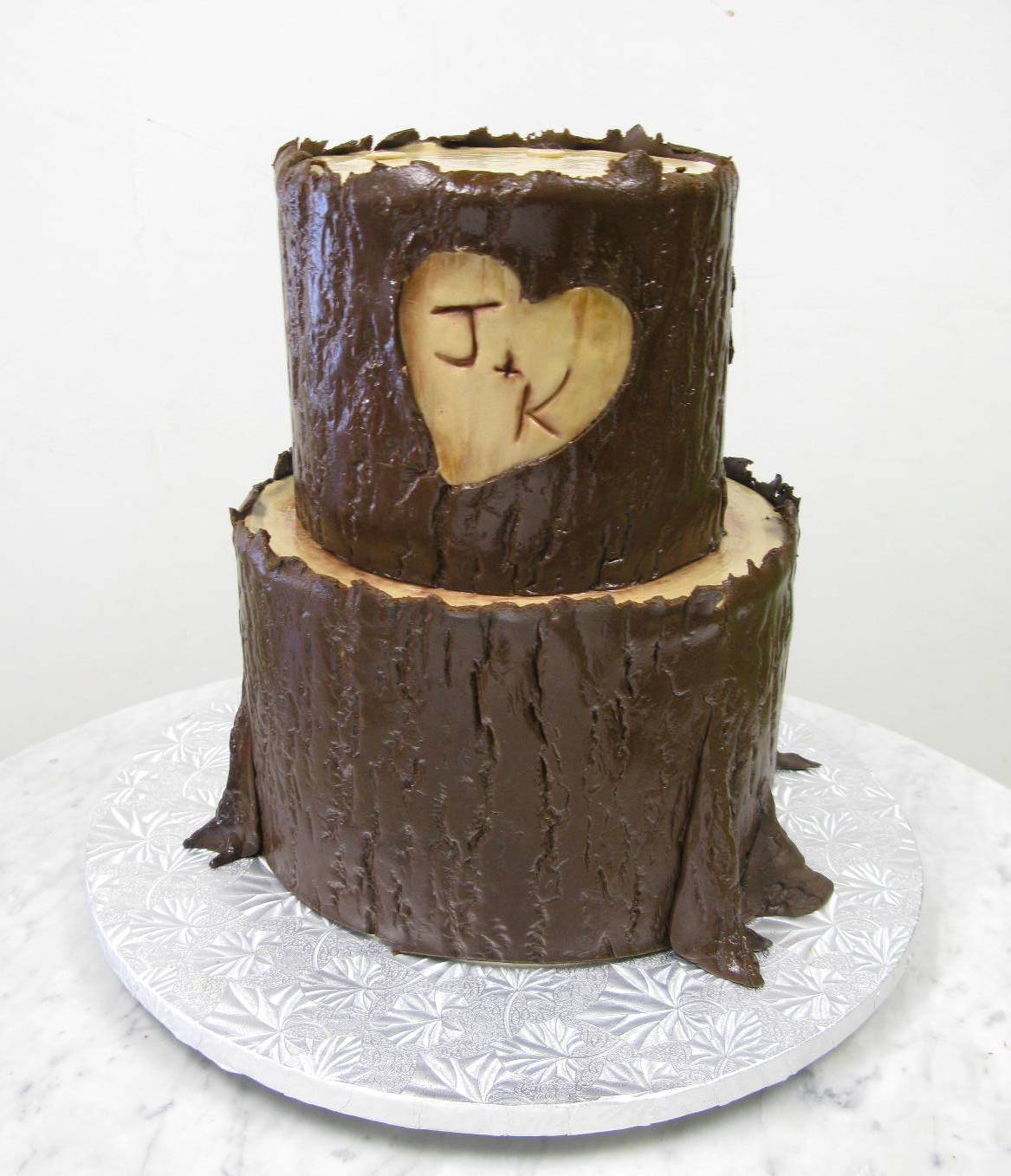 Carved Bark Initials