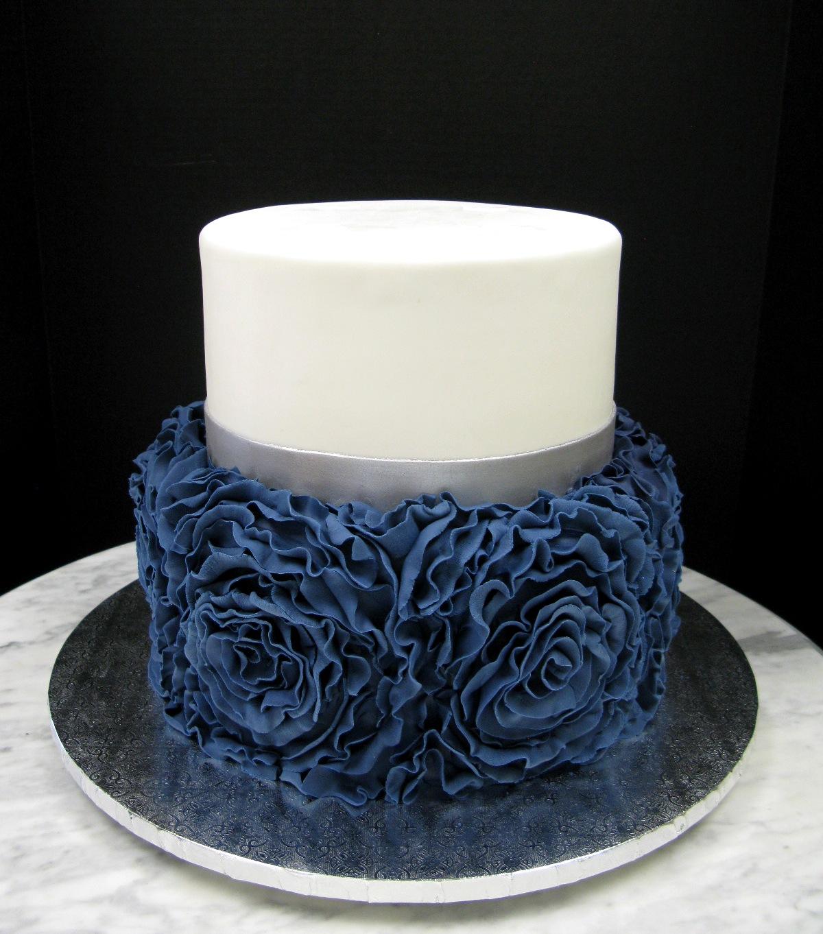 Navy Blue Ruffle Rose