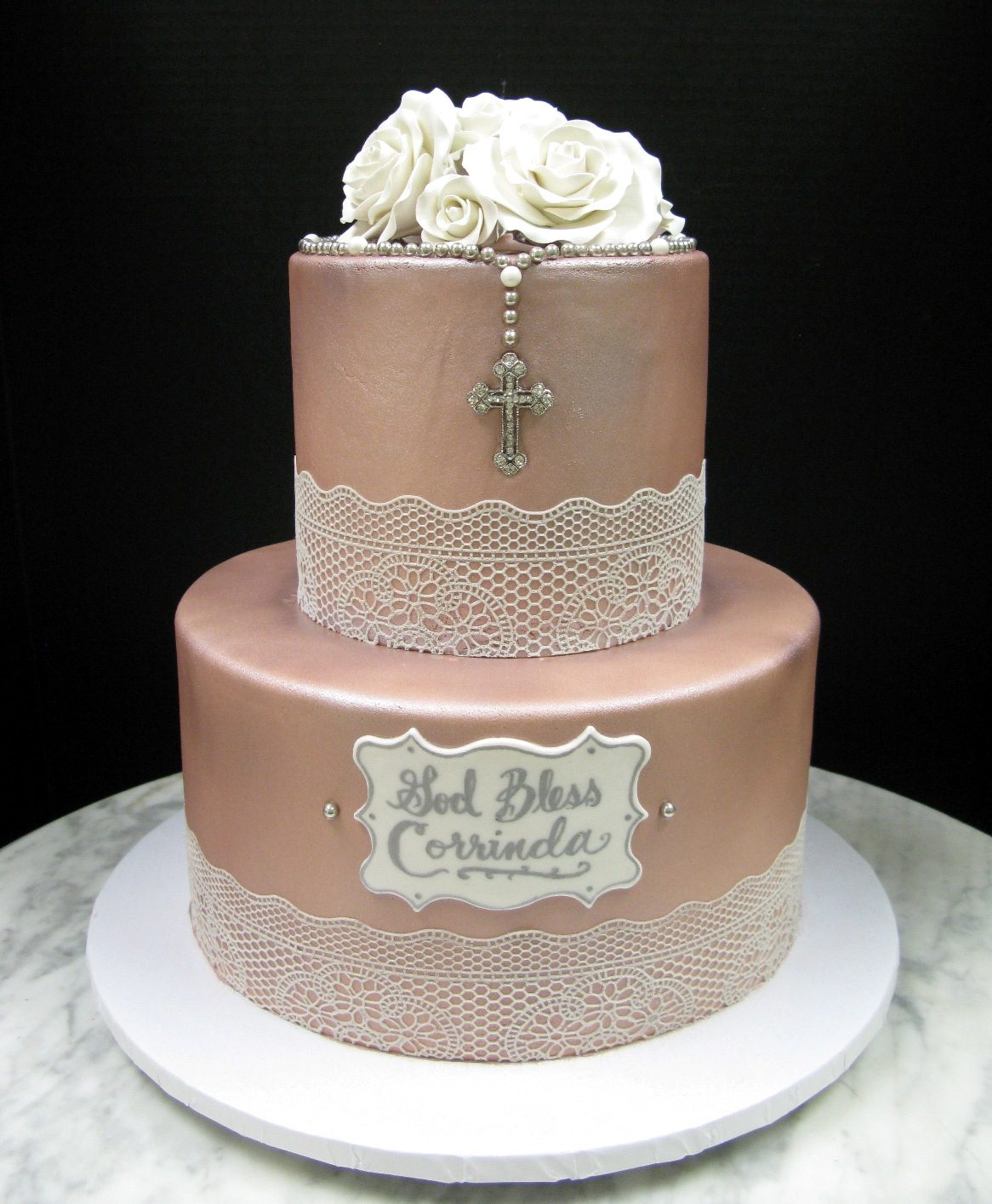 Rose Gold Christening Mother Mousse