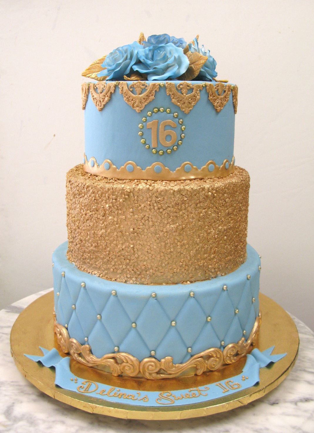 light blue and gold wedding cakes quilt mousse 16847