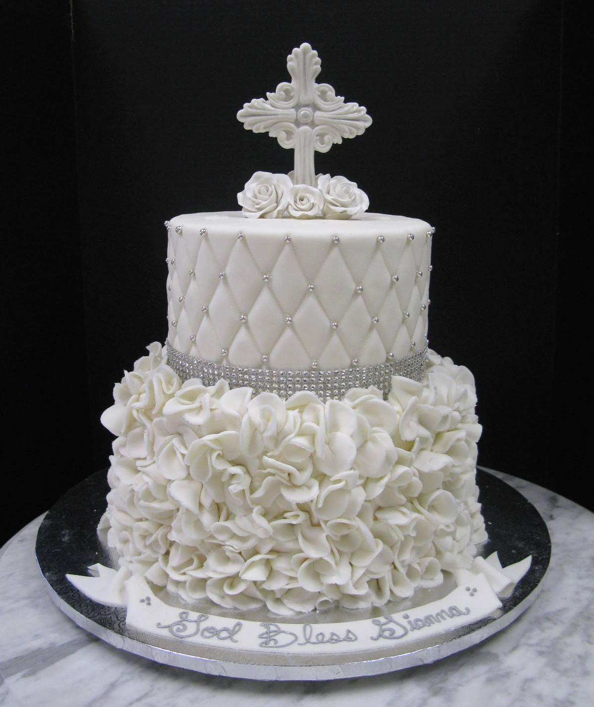 White Ruffles Religious Cake